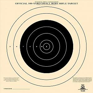 Official NRA TQ- 4 Target, 100 Yard Small Bore, Rifle Target, Single Bullseye, Paper Target (Black, 50)