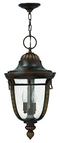 - Hinkley 2902RB Traditional Three Light Hanging Lantern from Key West Collection in Bronze/Darkfinish,