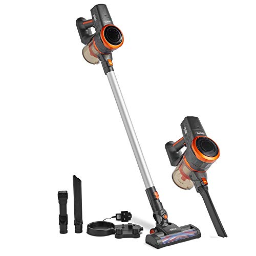 VonHaus Cordless 2 in 1 Stick Handheld Vacuum Cleaner with Powerful Suction and Lightweight Design Includes Crevice Tool, Floor Brush and Turbo Head (Gray/Orange) 22.2V Lithium-ion Battery