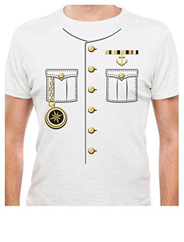[TeeStars - Ship Captain Halloween Costume Outfit Suit T-Shirt Large White] (Ship Captain Costumes)