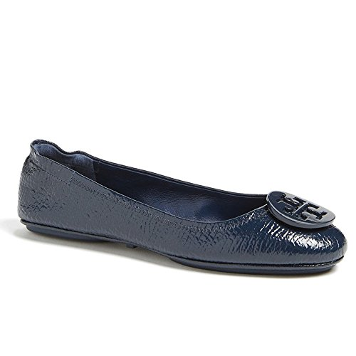 Tory Burch Reva Shoes Ballet Minnie Travel Flats Soft Naplak Leather TB  Logo (7, Tory Navy)
