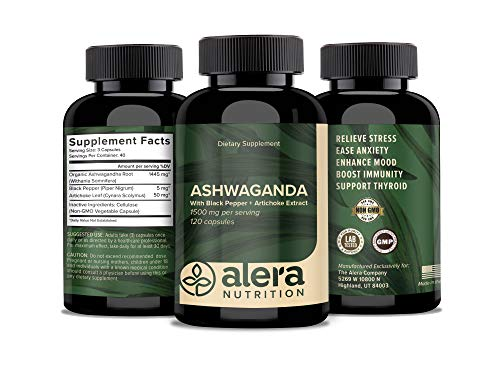 ALERA NUTRITION Organic Ashwagandha Capsules - 1500 mg - Best Natural Anti Anxiety, Stress Relief, Mood Support Supplement With Black Pepper Extract and Artichoke Root Powder for Absorption, 120 count