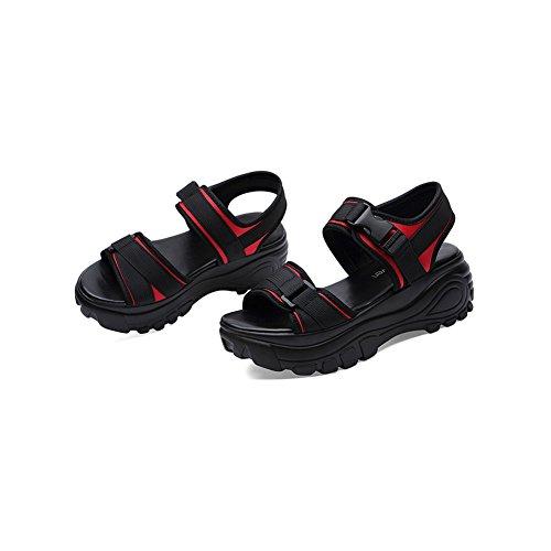 Zapatos tamaño Deportes Color de Zapatos Sandalias Plataforma de Sandalias Esponja de Romanos de Suelta 2018 Mujer 36 Rojo Verano Playa Sandalias Mujer Mujer Ocasionales OqBOv