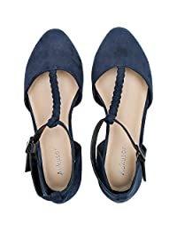 Aukfor, Zapatos de Ballet Anchos para Mujer, con Tira en T, Puntera Puntiaguda, Casuales, de Verano, Planos.
