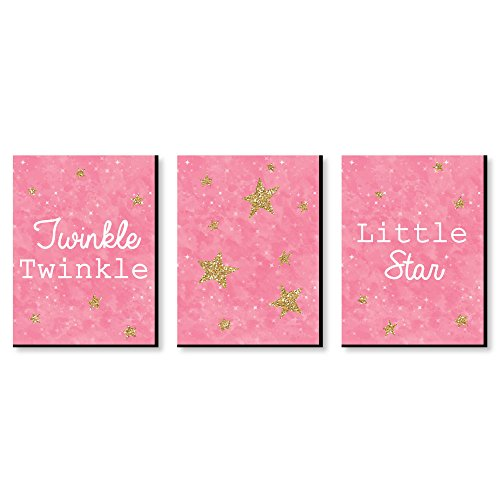 Pink Twinkle Twinkle Little Star - Baby Girl Nursery Wall Art and Kids Room Decorations - 7.5 x 10 inches - Set of 3 Prints