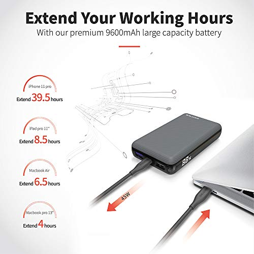 Excitrus 45W Power Bank Air - Ultra Small USB C Portable Charger Fast Charges MacBook Laptop & Surface with Power Delivery 2.0 - Battery Pack Fast Charges Phones Tablet Nintendo Switch with Q.C. 3.0