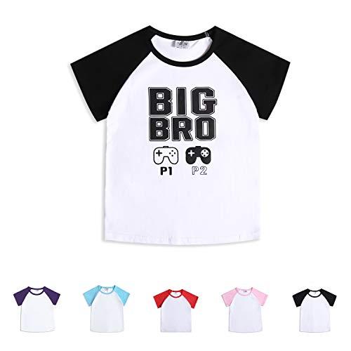 Toddler Big Brother Baby Girls Boys Short Sleeve Shirts Raglan Shirt Baseball Tee Cotton T-Shirt (Big Bro, 1-2 Years) - Good Sleeve Short T-shirt One