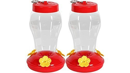 (Garden Collection Hanging Hummingbird Feeder - 6.75 Inches - 2 Pack, Clear, Red )