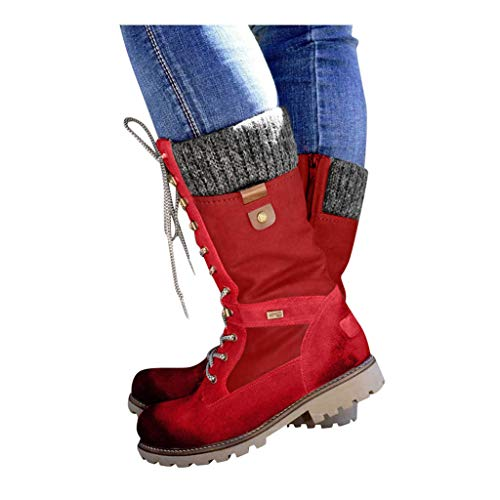Cenglings Motorcycle Boots,Women Casual Round Toe Square Heel Rome Shoes Flat Lace Up Mid-Calf Ankle Boots Party Shoes Red,41