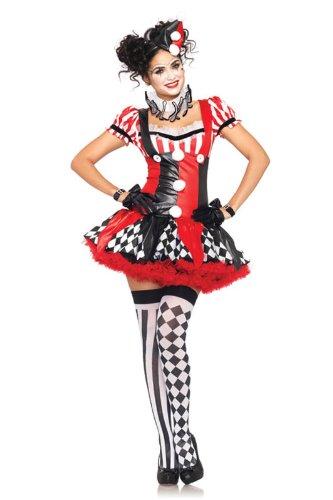 (Leg Avenue Women's 3 Piece Harlequin Clown Costume, Black/Red,)