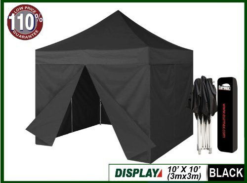 Eurmax 10 x 10 Ez Pop up Canopy Party Tent Wedding Gazebo Party Tent with 4 Zipper End Sidewalls Walls and Dust Cover