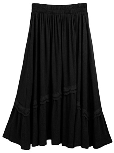 Soojun Women's Elegant Embroidery Solid Cotton Linen Maxi...