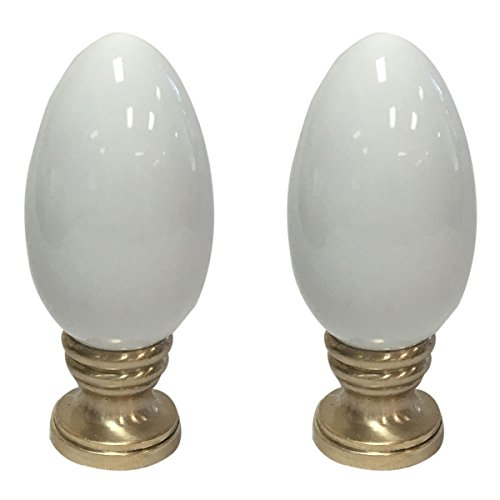 Royal Designs Ceramic Egg Shaped White Lamp Finial on Polished Brass Base - Set of ()