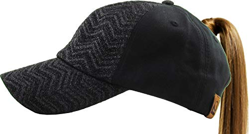 All Hat Ponytail Vintage Sports Glitter Messy High Bun Hat Ponycaps Adjustable Cotton and Mesh Trucker Baseball Cap (Adjustable, (9) Chevron Glitter Black)