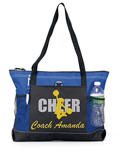 (Custom Cheer Coach with Glitter or Solid Metallic Cheerleader and Coach Name on a Sports Tote. Free (Gold Glitter on a Royal)