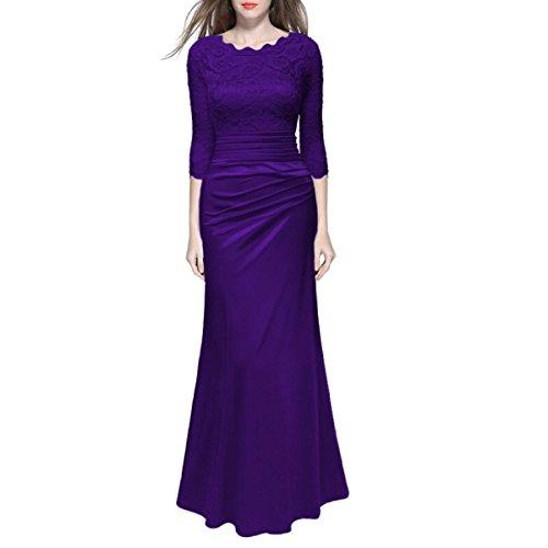 Opcionales Mujer Elegante Purple Colores Boda Atractivo Banquete Varios Vintage Media Vestido Baile Cordón De Chica Manga Cumpleaños Z4Fqr1n4