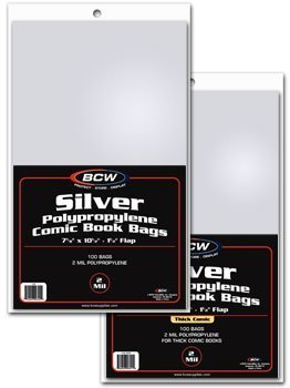Silver Age Comic Bags and Backer Boards - 100ct (Comic Book Plastic Bags)