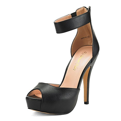 DREAM PAIRS SWAN-05 New Women's Ankle Strap Back Zipper Peep Toe High Heel Platform Pump Shoes,Black Pu,5.5 B(M) US