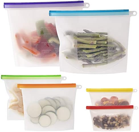 WeeSprout 100% Silicone Reusable Food Storage Bags | Set of 6 Leakproof & Airtight Bags (Two 6 Cup, Two 4 Cup, and Two 2 Cup Bags) | Freezer & Microwave Safe | Dishwasher Safe | for Lunches and Snacks
