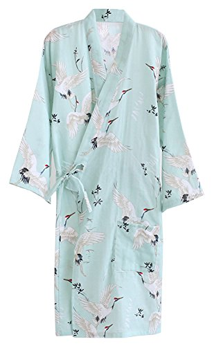 ECHERY Women's Summer Cotton Kimono Robes Floral Pajamas Khan Steamed Bathrobe Yukata (Yukata Cotton)