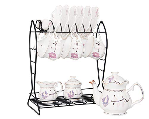 - 21-Piece Porcelain Ceramic Tea Gift Set with Metal Holder, Coffee Service Set with Cups, Saucers, Teapot, Sugar Bowl and Creamer