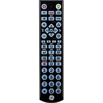 GE 24116 4-Device Big Button Universal Remote Control with Full LED Backlighting, Black