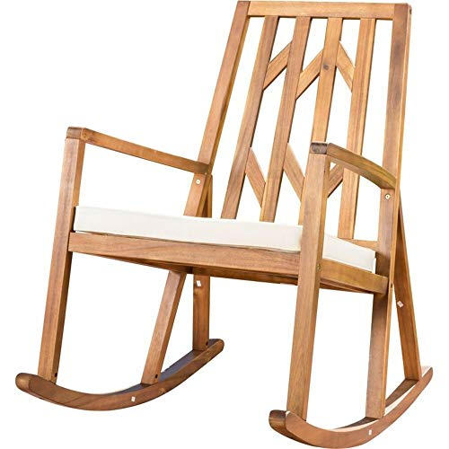 Brayden Studio Porch Suitable Acacia Rocking Chair with Fabric Seat Cushion + Free Basic Design Concepts Expert Guide from Brayden Studio