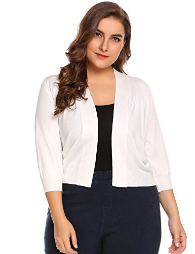 Zeagoo Women Plus Sizes Classic 3/4 Sleeve Open Front Cropped Cardigan, White, 20
