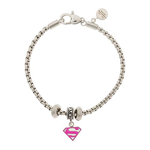 (DC Comics Stainless Steel Pink Superman Bead Charm Bracelet)
