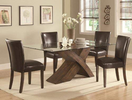 Coaster 103051-CO Nessa Large Scaled X Base Dining Table with Glass Top
