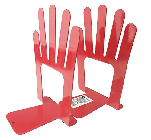 One Pair Vintage Fashion Colorful Five Fingers Palm Of Open Hands Iron Library School Office Home Study Metal Bookends Book End (Red)