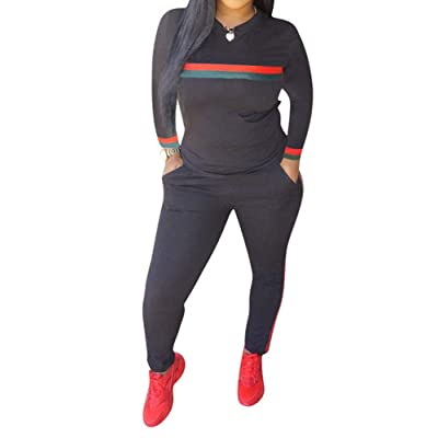Women's Sweatsuits, 2 Pieces Sexy Sportwear Set for Women Short Sleeve Crop Tops+Color Stripe Skinny Pants Tracksuit Set at Women's Clothing store