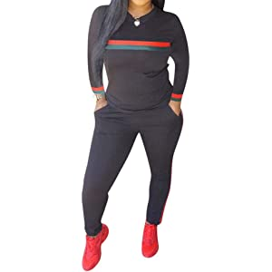 Sinfu Women Casual Pullover Off Shoulder Sweatpants Two Piece Sport Tracksuit Outfits Set