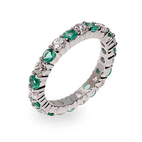 Deep Green and Clear CZ Silver