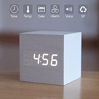 Wooden LED Digital Alarm Clock, Displays Time Date And Temperature, Cube USB/ 3AAA Battery Powered Sound Control Desk Alarm Clock for Kid, Home, Office, Daily Life, Heavy Sleepers By Zeekoo (White)