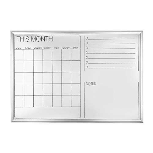 Monthly Planner Magnetic Dry Erase Board - 4 THOUGHT 36 x 24 Inches Hanging Monthly Calendar Whiteboard, Wall-Mounted Magnetic Dry Erase Memo Board Bulletin Board with Elegant Aluminium Art Frame