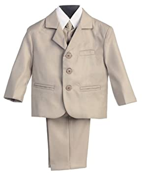 Amazon.com: 5 piezas caqui traje con camisa, chaleco y ...
