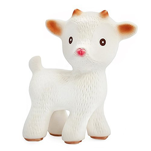 CaaOcho Friends - Sola the Goat Teething Toy - 100% Pure Natural Rubber, BPA, PVC, phthalates Free