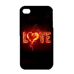 iPhone 4/4s 3D Protective Phone Case Shiny And Lovely Snap on iPhone 4/4s Burning Love Cellphone Shell