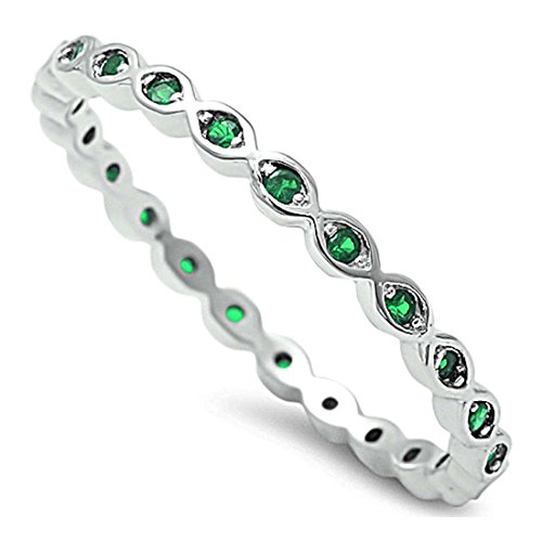 Blue Apple Co. 2mm Full Eternity Stackable Band Ring Round Simulated Green Emerald 925 Sterling Silver