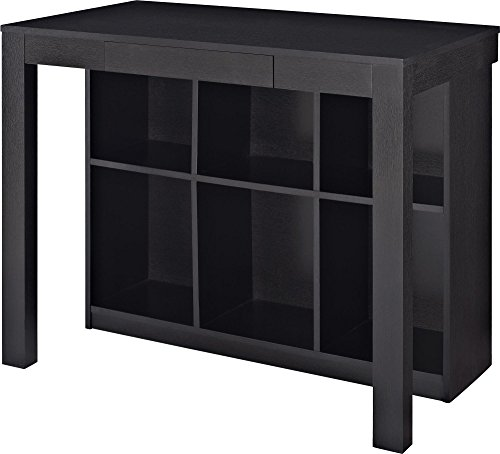 Bookcase Secretary Desk - Ameriwood Home Parsons Desk with Cubbies, Black