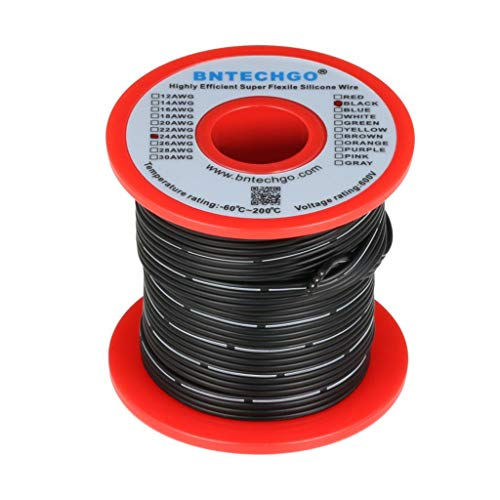 BNTECHGO 24 Gauge Silicone Ribbon Cable Copper Wire 4P Flat Cable 24 AWG Flexible Soft Silicone Rubber Parallel Wire Strand Wire High Temp 200 deg C 600V 4 Pin Black - Instrument 24 Gauge Cable