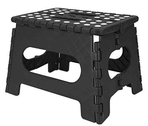 Home Basics Folding Stool with Non Slip Grip Dots and Carrying Handle, Black (Medium) by Home Basics
