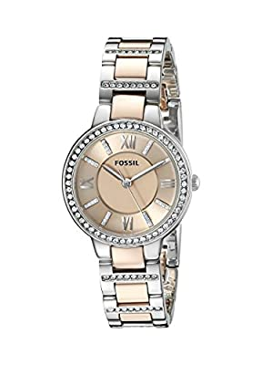 Fossil Women's ES3405 Virginia Three-Hand Two-Tone Rose Gold-Tone Stainless Steel Watch from Fossil