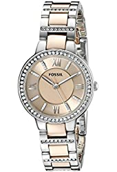 Fossil Women's ES3405 Virginia Three-Hand Two-Tone Rose Gold-Tone Stainless Steel Watch