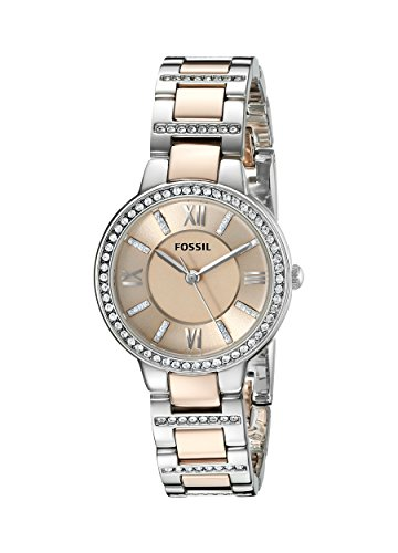 Fossil Women's Virginia Quartz Two-Tone Stainless Steel Dress Watch, Color: Silver, Rose Gold (Model: ES3405)