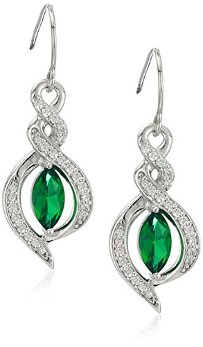 Women's Platinum Plated Sterling Silver Synthetic Emerald Marquise Cut Swarovski Zirconia Drop Earrings