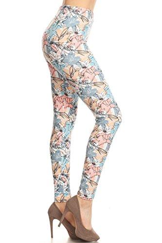 - S551-PLUS Flower Chalkart Print Fashion Leggings