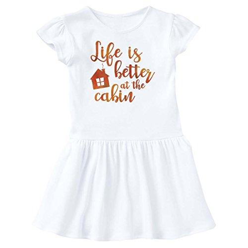 - inktastic - Life's Better Cabin Toddler Dress 2T White 26955