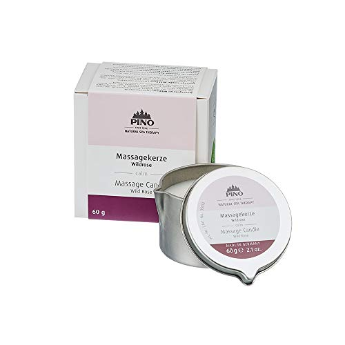 PINO Natural Spa Therapy Scented Massage Candle, Wild Rose, 2.1 oz